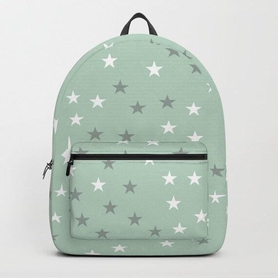 Mint Backpack Girls Star Print Backpack Kids Jr High Etsy