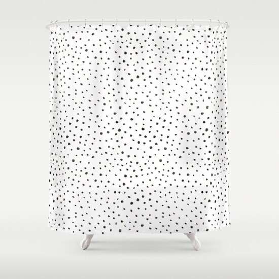 Shower Curtain Polkadot Shower Curtain Black And White Shower Etsy