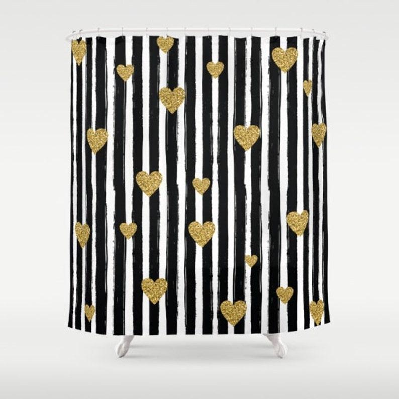 Gold Glitter Hearts Shower Curtain Black And White Stripe