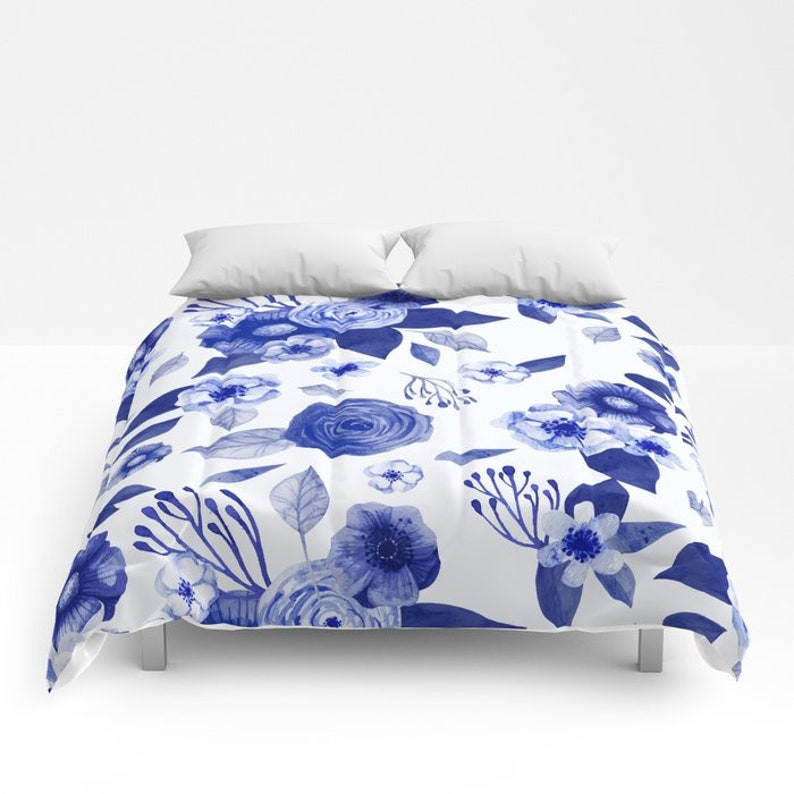 Blue Floral Duvet Cover Queen Blue Bedding King Twin Xl Full Duvet Cover Bedspread Floral Duvet Cover Farmhouse Style Blue And White