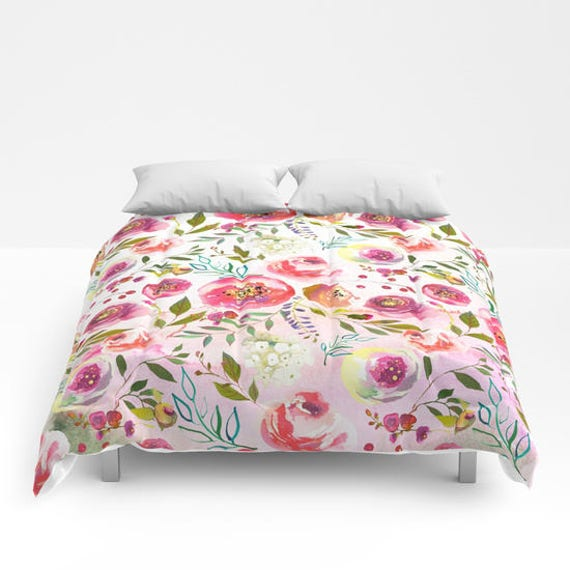 Pink Floral Duvet Cover Girls Floral Comforter King Queen Full Etsy