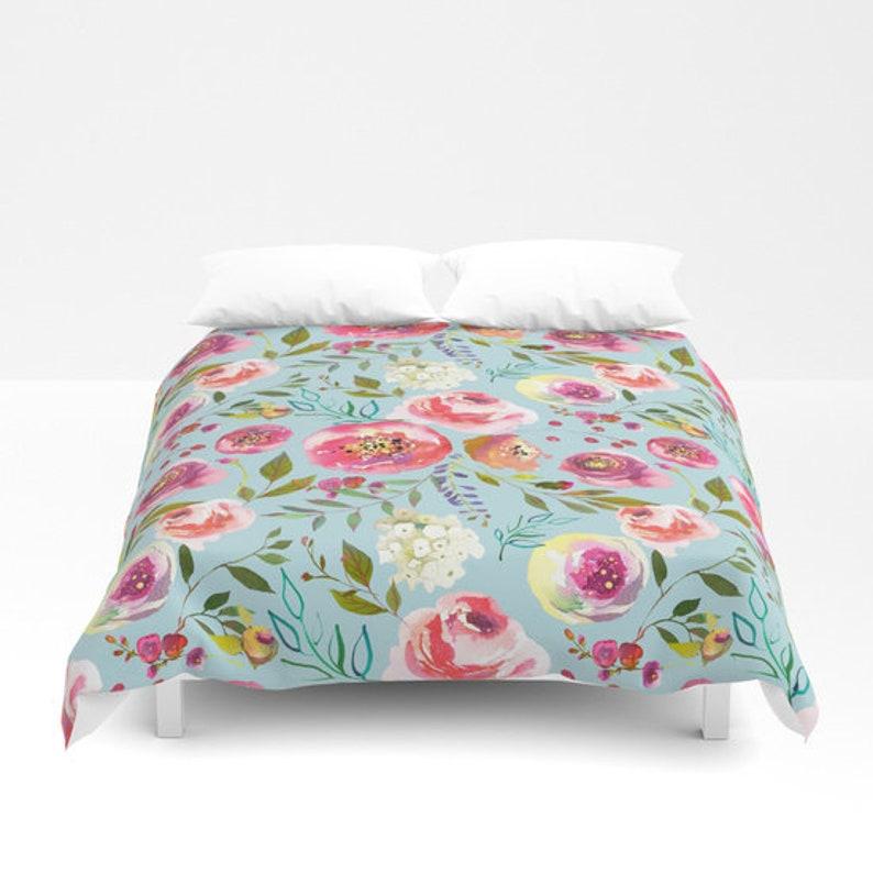 aaee0aa5c53ca Blue Floral Bedding, Girls Duvet Cover Floral Comforter king queen full  twin dorm bedding girls teen bedroom watercolor floral print