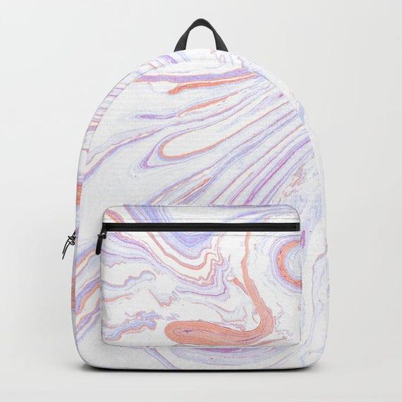 Purple Backpack Purple Pink Marble Print Backpack Retro Book  ea66608bafb67
