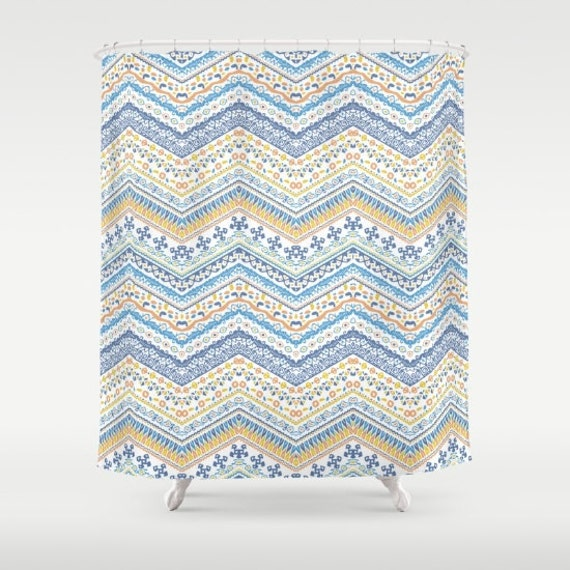 Blue And Yellow Shower Curtain Tuscany Chevron Pattern Italian