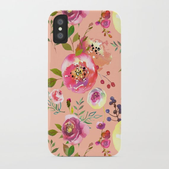 Pink Floral Phone Case Iphone 8 Case Iphone X Floral Print Iphone 7 Phone Case Samsung Galaxy S8 S7 Tech Gifts For Her Pink Phone Cases