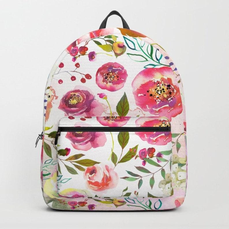Women Floral Backpack Pink School Book bag Girls Floral Bookbag Women  Canvas School Bag College Girl Gifts Pretty floral ... 8b35b5b7eb678