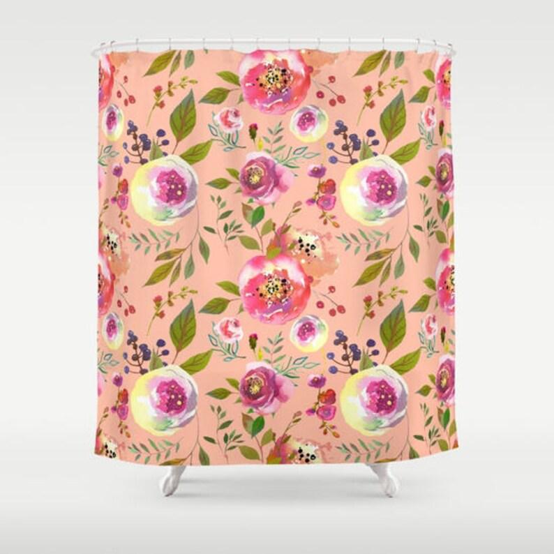 Peach Floral Shower Curtain Girls Bathroom Pink