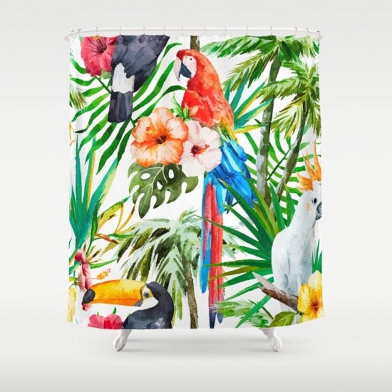 Bird Shower Curtain Tropical Birds Fabric