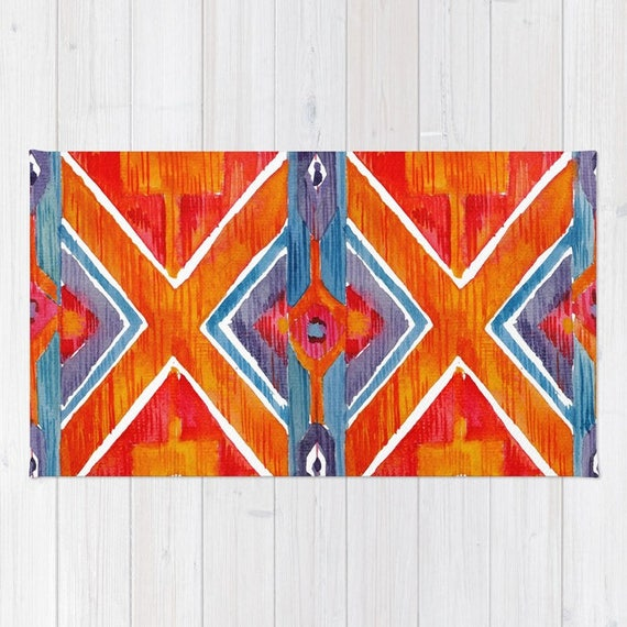 Blue navajo rugs Authentic Image Treniq Navajo Rug Orange Bohemian Rug Red Blue Area Rug 2x3 Rug Etsy
