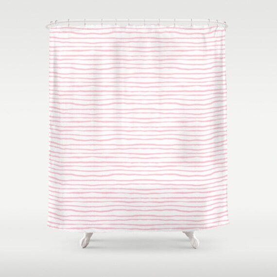 Pink Stripe Shower Curtain Kids Bathroom Light Decor Girls