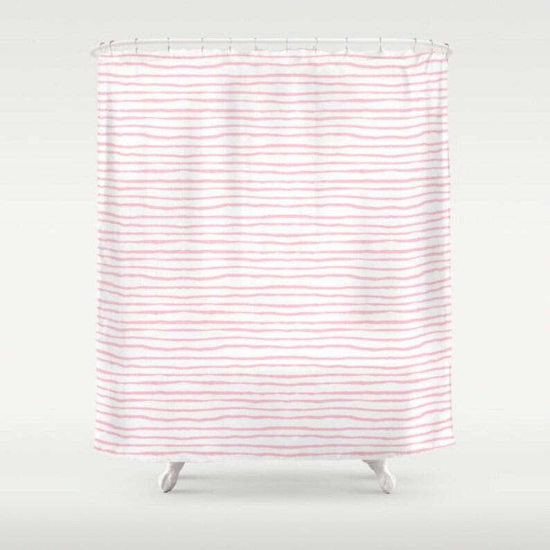 Pink Stripe Shower Curtain Kids Bathroom
