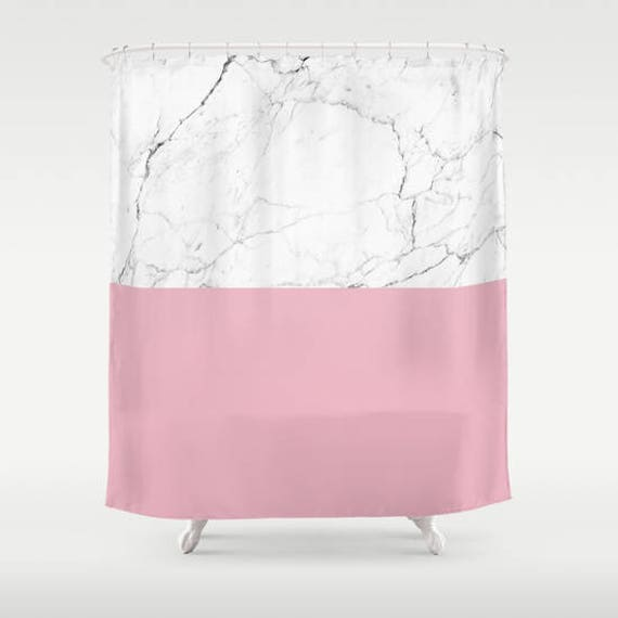 Blush Pink White Marble Shower Curtain Girls Bathroom