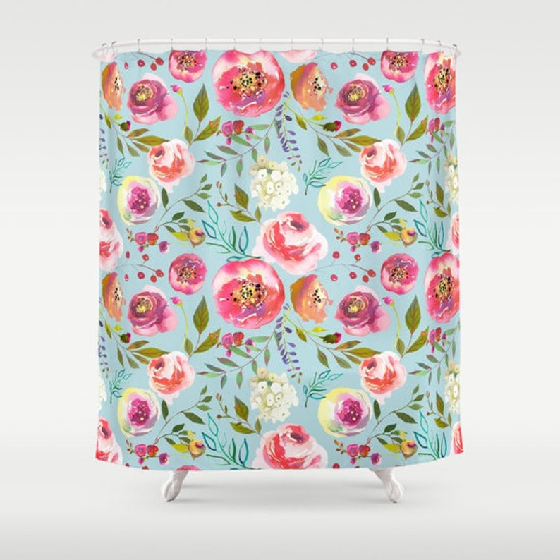 Blue Floral Shower Curtain Girls Bathroom Robins Egg Blue Pink