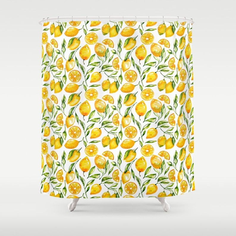 Lemon Shower Curtain Print Yellow Sunny