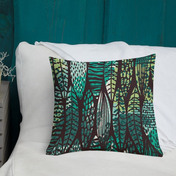 Green Pillows Bedroom Accent Pillow Living Room Pillow Case Green Brown  Boho Botanical Print Surfboard Pattern Pillow Decorative Throw