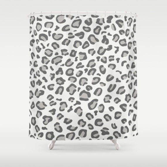 Leopard Print Shower Curtain White