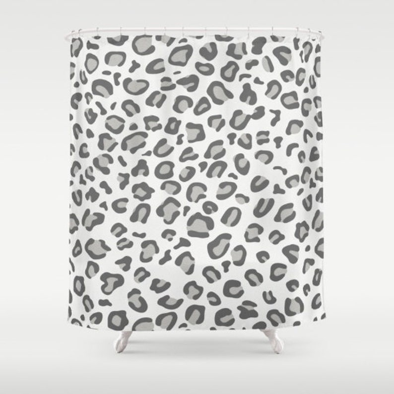 Leopard Print Shower Curtain White Animal Cu