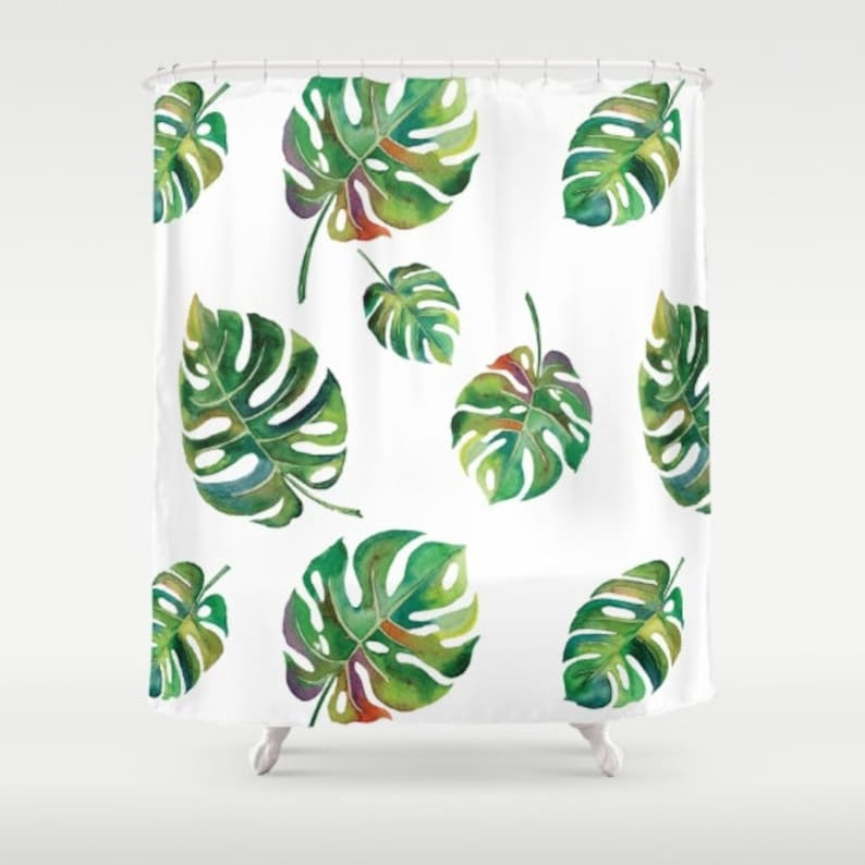 Palm Leaves Shower Curtain Green And White