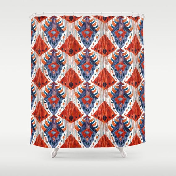 Red Ikat Shower Curtain Bathroom Decor And Blue