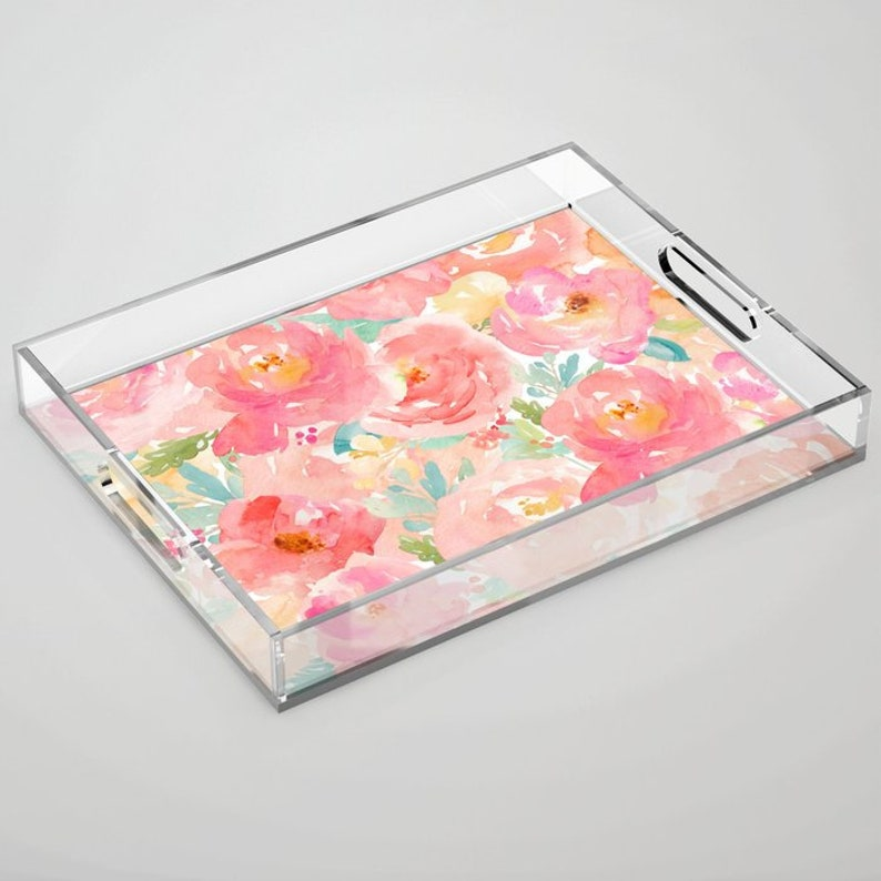 Floral Coffee Table Tray Acrylic Tray Lucite Tray Serving Etsy