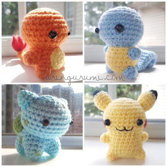 "<Span Data Inner Title="""">Kanto Starters Amigurumi   Bulbasaur Charmander Squirtle Pikachu Crochet Plush Pokemon Plushie</Span> by Etsy"