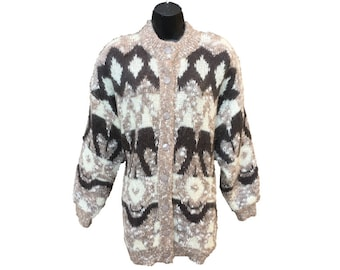 ec27f872848443 Mohair Blend Cardigan by Your Sixth Sense - Fully Lined Vintage Sweater -  Full Button Front - Brown Nordic Designs - Women s Size Large (L)