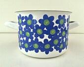 1960 39 s Finel Arabia Enamelware Stock Pot - Mid Century Modern Vintage - Sinivuokko - Blue Hepatica - Flower Power - Kaj Franck Design