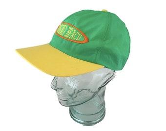 42e058f75861a Vintage 1980's Virginia Beach Snapback - Neon Green, Yellow - Nylon Baseball  Cap - Adult Adjustable Size - 80's Surf Style Souvenir Hat