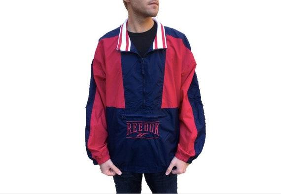 Vintage Windbreaker Jacket by Reebok Retro Dark Navy Blue w Red Geometric Color Block Designs Nylon Coat Men's Size XXL (2XL)