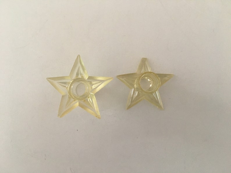 Starburst Crown Replacement Retro! Lot of 21 Vintage Christmas Light Covers Clear  Colorful Transparent Plastic Bases Star Design