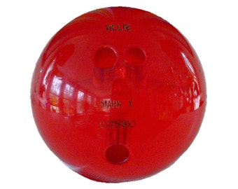 Wondercraft Mark X - Clear Red Lucite Bowling Ball - Vintage, Circa 1960's - Transparent Acrylic - Extremely Rare, Less than 200 Ever Made!!