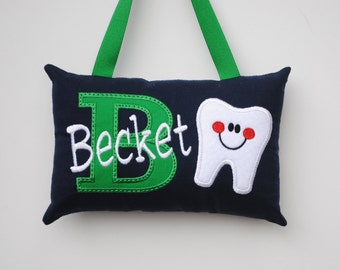 Navy and Green  Personalized Tooth Fairy Pillow