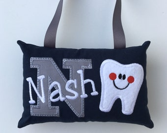 Navy and gray Personalized Tooth Fairy Pillow