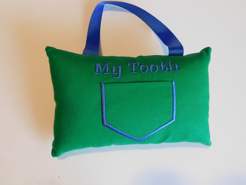 Green blue Tooth Pillow Loose Tooth Pillow Tooth Fairy Pillow