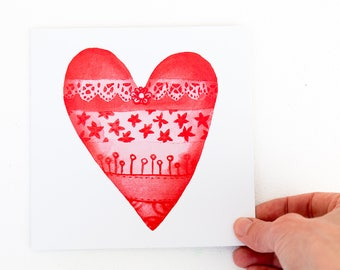 Valentines Day card, Red Heart Card, I love you message, Red wedding, Great for Girlfriend, Great for Boyfriend, Blank inside, For my Wife