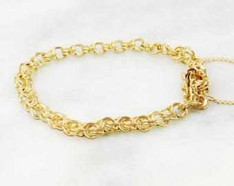 e54e998c5 Vintage 14k Gold Charm Bracelet 14k Gold Bracelet Double Link Bracelet  Solid Links 7