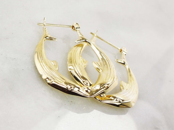 Vintage 14k Gold Dolphin Hoop Earrings Yellow Gol… - image 6