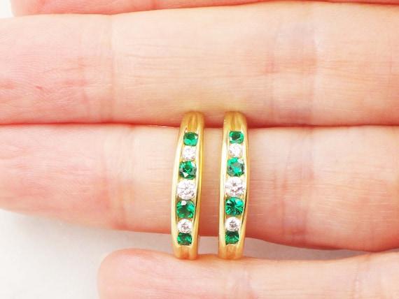 Vintage 18k Diamond Earrings Diamond and Green Sto