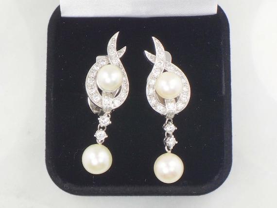 Vintage Pearl Dangle Earrings Japanese Cultured P… - image 3