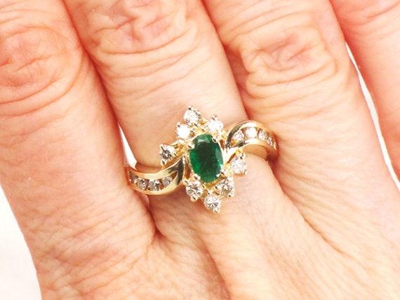 Vintage 14k Emerald Ring Emerald Diamond Ring Genu