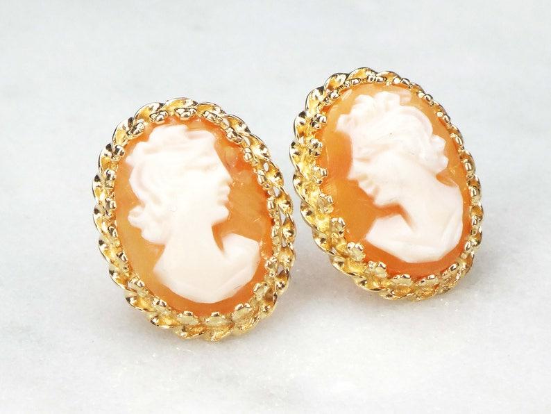 cef82e467 Vintage Cameo Earrings 14k Cameo Earrings Gold Earrings Shell | Etsy