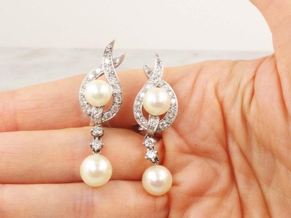 Vintage Pearl Dangle Earrings Japanese Cultured P… - image 6
