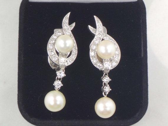 Vintage Pearl Dangle Earrings Japanese Cultured P… - image 2