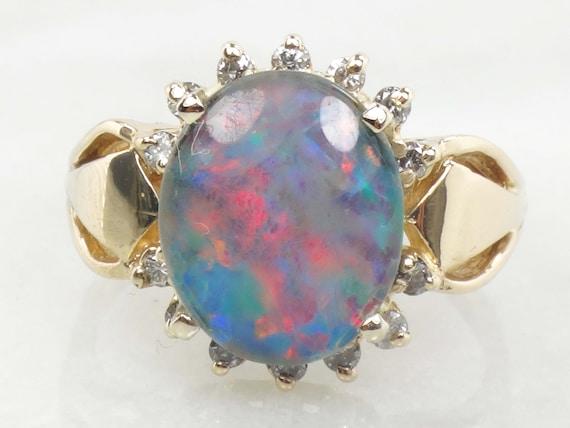 Vintage Black Opal Triplet Ring Natural Opal Diamo