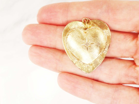 Vintage Large 14k Diamond Heart Locket Pendant Hea