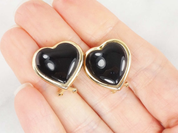 Vintage 14k Black Onyx Earrings Gold Earrings Blac