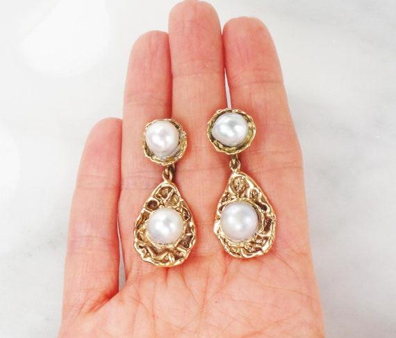 Vintage Large Pearl Earrings 14k Semi Baroque Pear