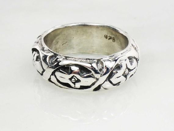 Vintage Sterling Silver Floral Ring Wide Sterling… - image 2