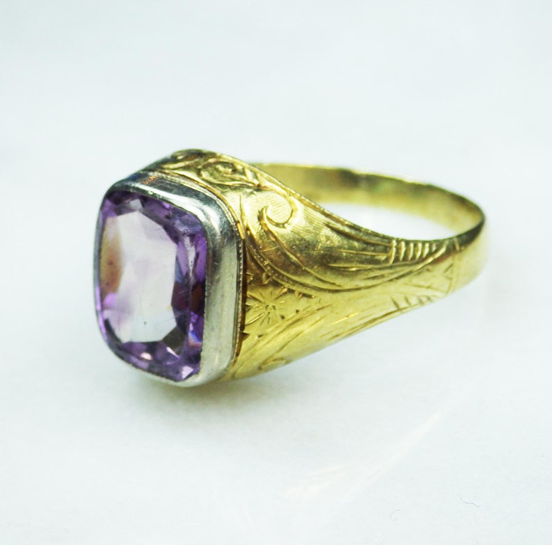 ebb56fa8e2f8a Antique Mens Ring Art Nouveau Mens Ring 18k Gold Amethyst Ring Gents Ring  February Birthstone Ring Mens Gold Ring Genuine Amethyst 1920's