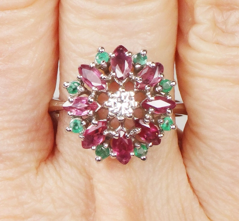 Multi Gemstone Ring for Women Emerald /& Ruby Sterling Silver Ring Engagement Ring for Her Cluster Silver Ring for Her
